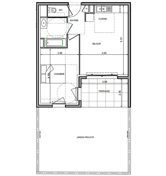 Plan appartement neuf Antibes  T2