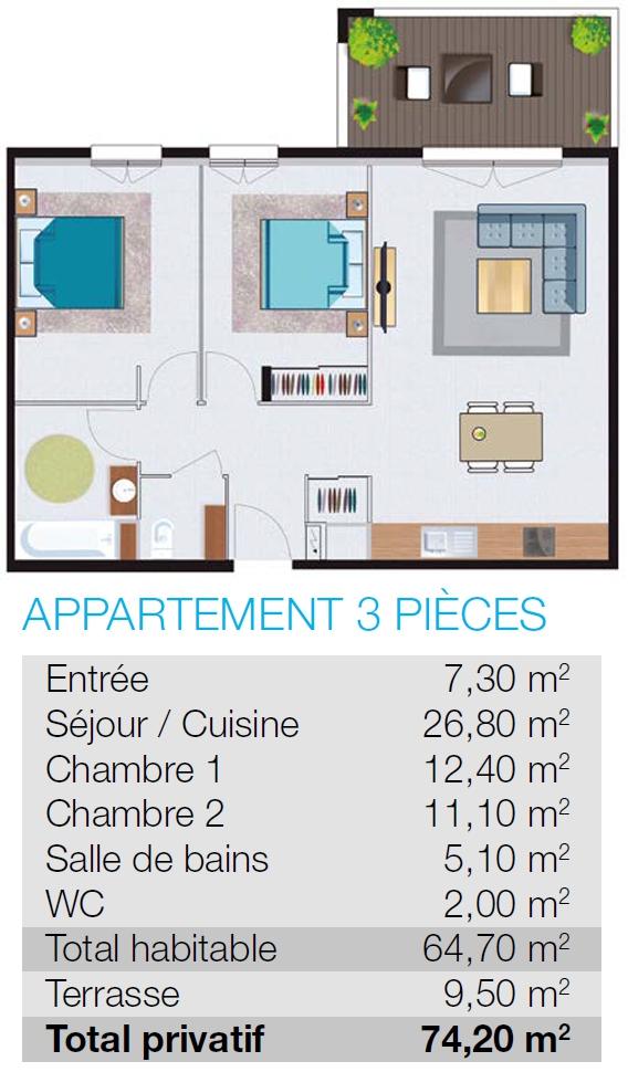 plan appartement T3